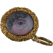 Antique Victorian Gold Framed  MINIATURE LOVERS Womans Right  EYE Pendant
