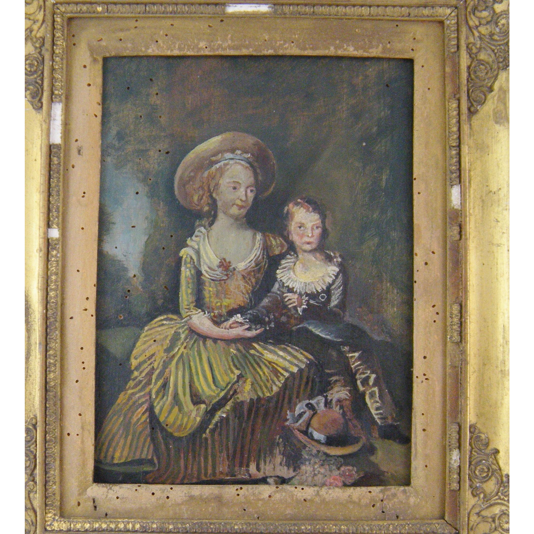 ANTIQUE FRENCH 1800'S Painting on Board in Gilt Frame of the  ? Young Dauphin