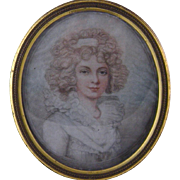 Antique  ENGLISH 18th C Beautiful Woman in Ebonized Frame Miniature Portrait