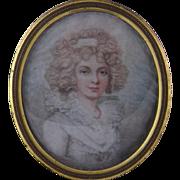 Antique  ENGLISH 18th C Beautiful Woman in Ebonized Frame Miniature Portrait