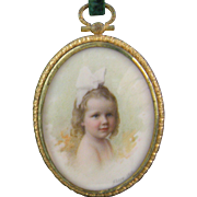 1913 AMERICAN MINIATURE PORTRAIT of a Beautiful Young Girl in White Bow Signed Shire