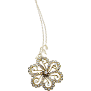 Antique 14 Kt Gold Split Set  Seed Pearls and OEC Diamond FLORA FORM PENDANT w/ CHAIN