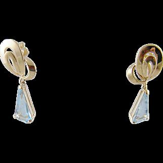 Retro Mid Century Vintage 14 Kt Gold  AQUAMARINE Earrings