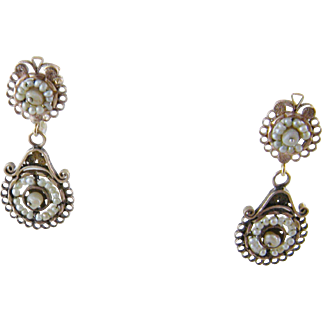 Antique 14 KT GOLD Seed Pearls  Double Medallion Earrings