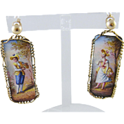 Antique 14 Kt Gold Viennese AUSTRIAN ENAMEL Figural Earrings