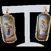 Antique 14 Kt Gold Viennese AUSTRIAN ENAMEL Figural Earrings