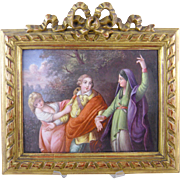 Large Antique  EUROPEAN ENAMEL Allegorical Figural with Mask Framed Painting