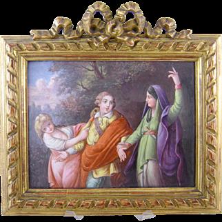 Large Antique  EUROPEAN ENAMEL Allegorical Figural with Mask Framed Painting