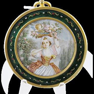 Antique French Miniature Paitning of LADY w/ CHERUB in Basket  in Enamel Frame