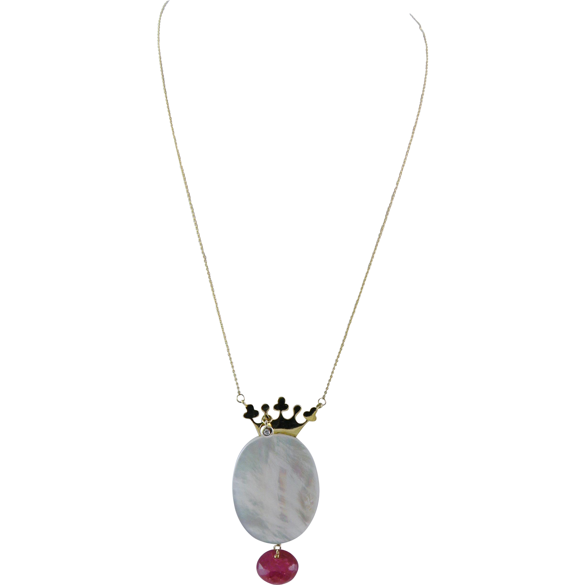 Vintage 14 Kt Gold  Red Sapphire Opal with Diamond  CROWN PENDANT Necklace