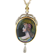 Antique 14 Kt Gold French Limoges  ENAMEL BEAUTIFUL WOMAN Pendant on Chain