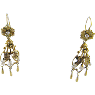 ANTIQUE 12 Kt Gold Seed Pearls Flowers and Leaves Drop  EARRINGS