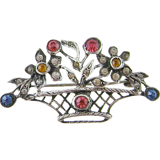Antique  FRENCH GIARDINETTI Silver and Cut Steel Foiled Paste  and Tourmaline Brooch