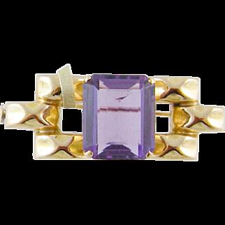 Mid CENTURY MODERN 14 Kt Gold 5 Carats Amethyst Brooch