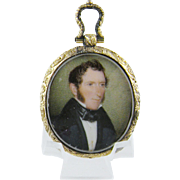 Antique AMERICAN MINIATURE Portrait of a Gentleman in Gilt Frame  purchased as  John Marshall