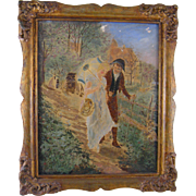 Antique FRENCH OIL on  CANVAS Beautiful Woman and Man Walking in Wood Painting