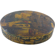 Antique Italian Painted Scenes Tuscany   Oval VENETIAN JEWELRY BOX