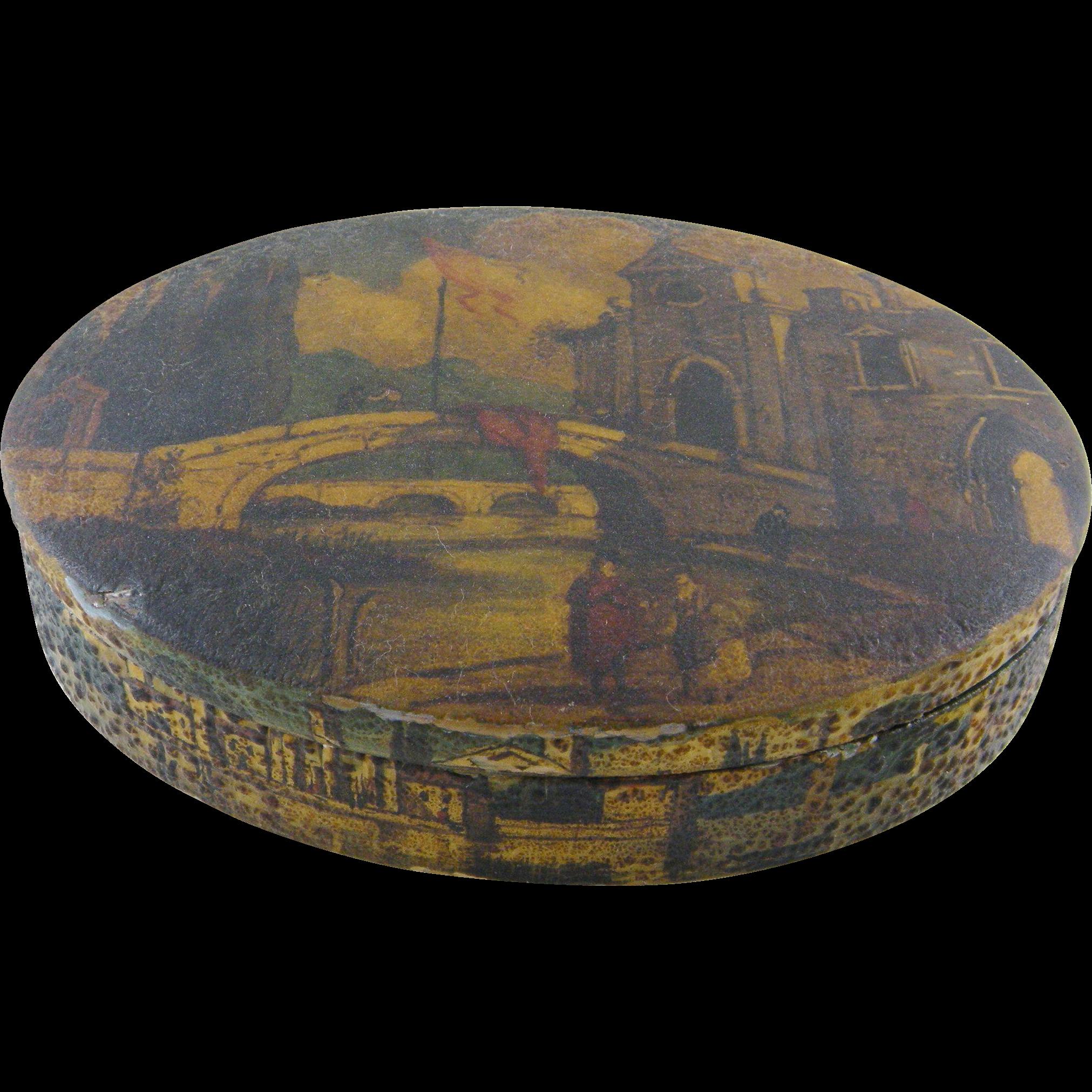 Antique Italian Painted Scenes Tuscany   Oval VENETIAN JEWELRY BOX
