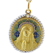 Antique French Art Nouveau 18 Kt Gold Diamonds Seed Pearls PLIQUE a JOUR Blessed Mother Mary   Signed Vernon Pendant