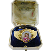 Antique Gold with Superb  PORCELAIN PAINTING Young Girl in Original Fitted Box