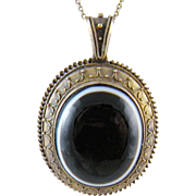 Antique 14 Kt Gold Etruscan Revival Framing Large  BANDED AGATE Locket Pendant