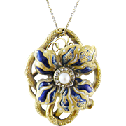Antique 14 Kt Gold  BLUE ENAMEL Flower with Rose Cut Diamonds Pendant