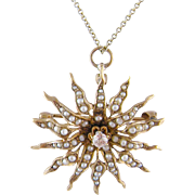 Antique 12 Kt Gold with Seed Pearls and Center Diamond STAR BURST Pendant