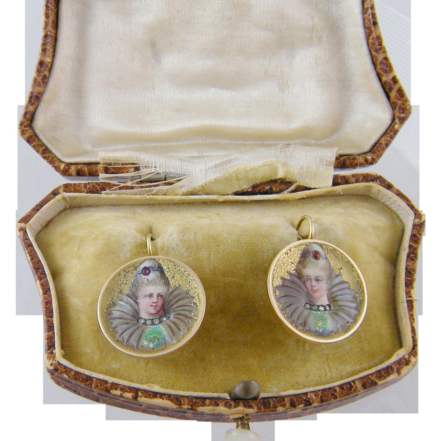 Rare Superb Antique Art Nouveau 14 Kt Gold with Diamonds and Rubies  ENAMEL WOMEN   EARRINGS
