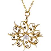 Vintage 14 Kt Gold Star Burst  with  .45 CARAT EUROPEAN Cut Center Diamond Pendant