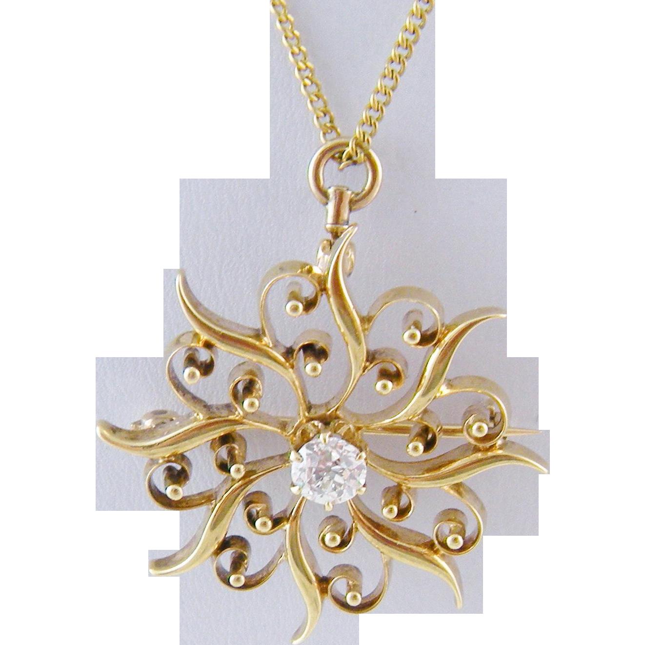 Vintage 14 Kt Gold Star Burst  with  .45 CARAT EUROPEAN Cut Center Diamond Pendant