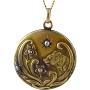 Antique 12 Kt Gold Art Nouveau  FLORAL and BEAST Pendant Locket