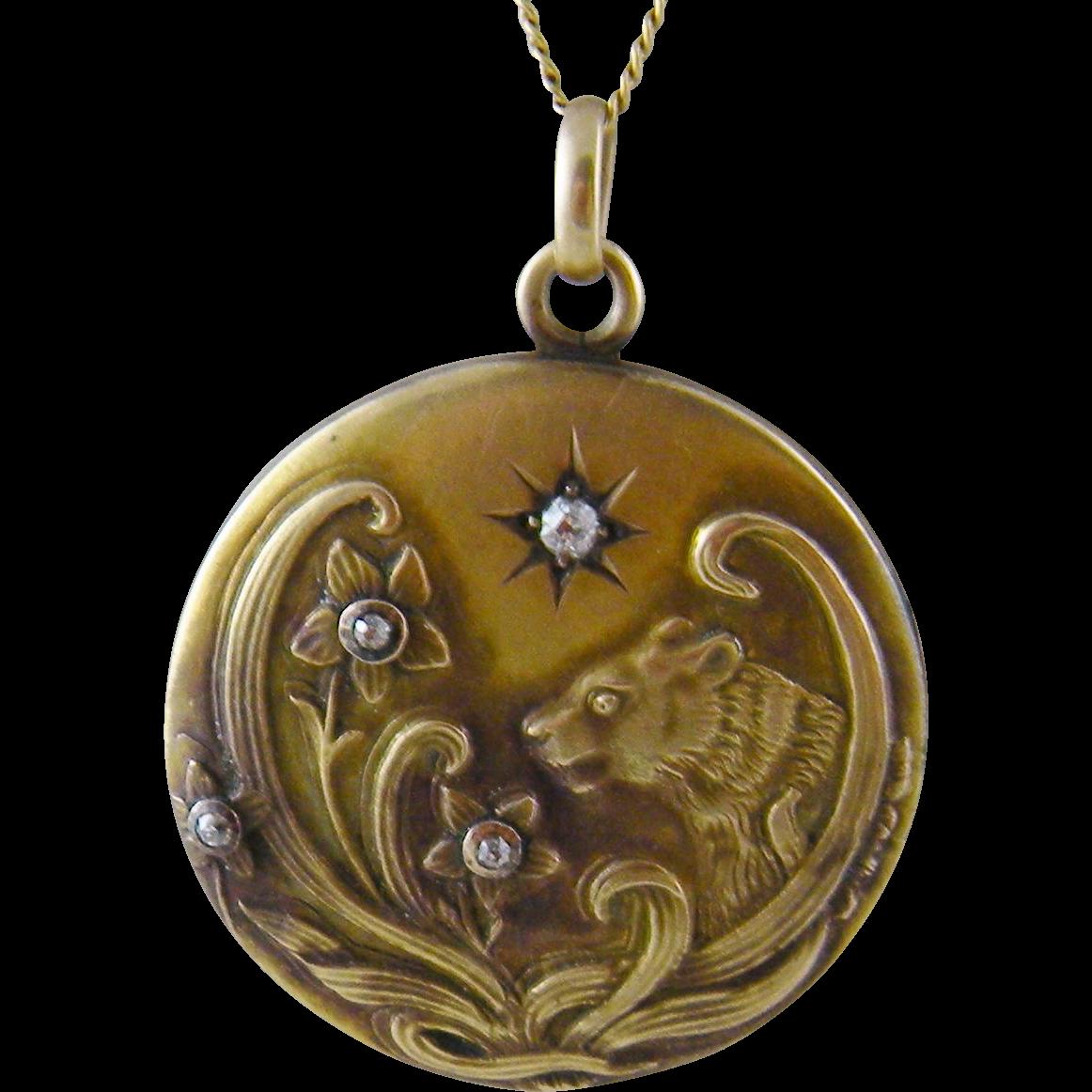 Antique 12 Kt Gold Art Nouveau  FLORAL and BEAST Pendant Locket