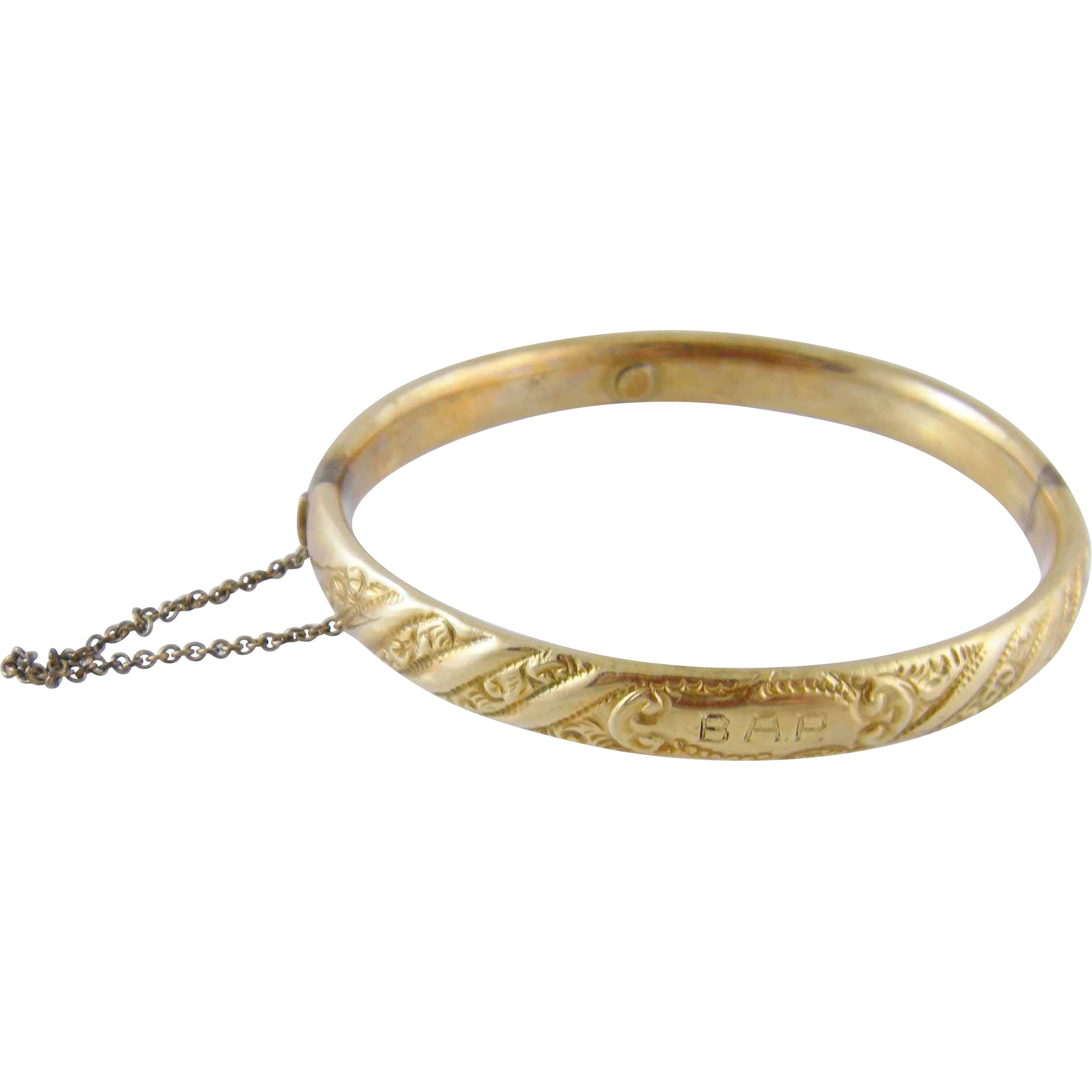 Antique 1911 14 Kt Gold Engraved Bangle  BRACELET