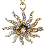 Antique 14 kt Gold Seed Pearls amd Center Diamond  STARBURST PENDANT