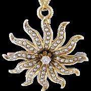 Antique 14 kt Gold Seed Pearls amd Center Diamond  STARBURST PENDANT