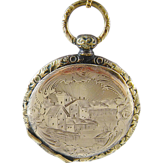 Antique 10 to 12 KT GOLD Beautifully Engraved Locket Pendant