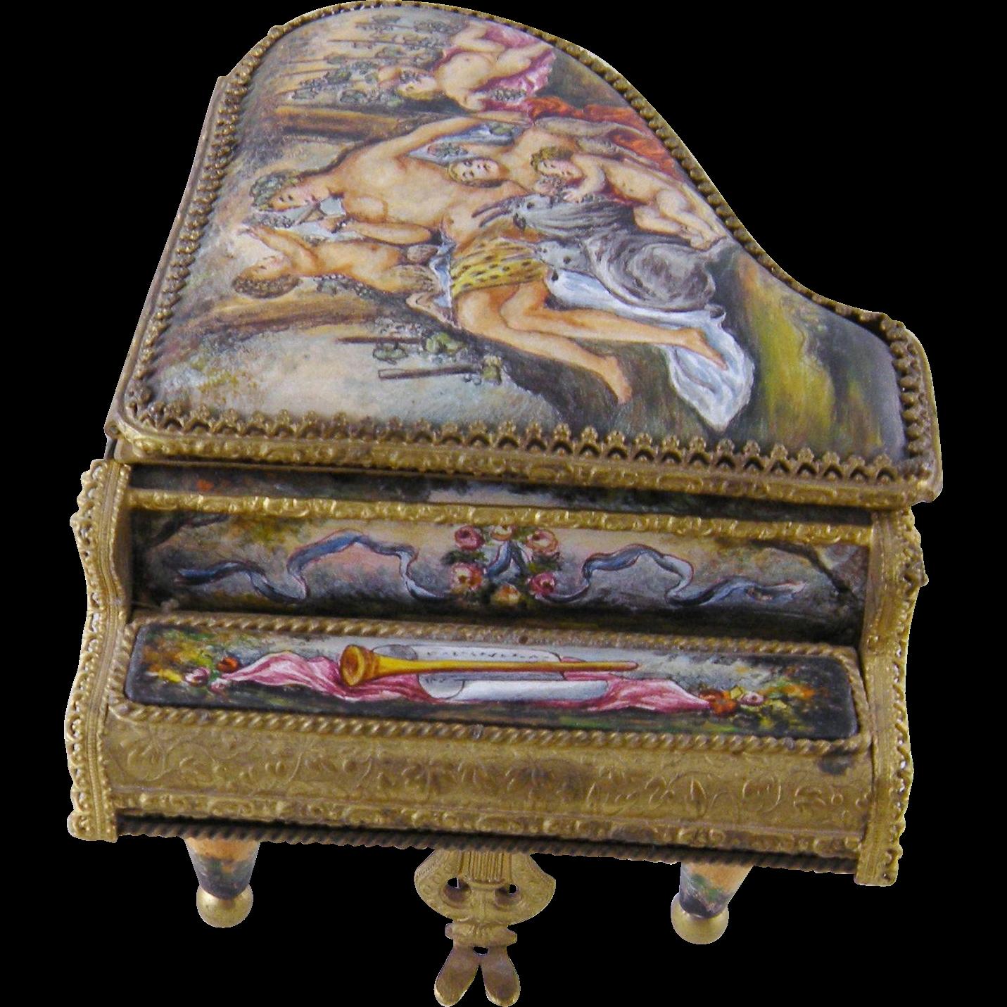 Antique  VIENNESE Austrian  ENAMEL Cherub Scenes  Miniature Piano Music Box