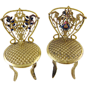 Antique Pair Art Nouveau Viennese  AUSTRIAN ENAMEL Bronze Miniature Chairs