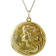 Antique  ART NOUVEAU 14 K Gold  REPOUSE Diamonds Beautiful Woman Locket Pendant