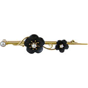 Antique  VICTORIAN MEMORIAL 14 Kt Gold Black Onyx Floral Bar Brooch