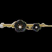Antique  VICTORIAN MEMORIAL 14 Kt Gold Black Onyx Floral Bar Brooch