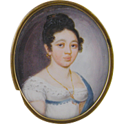 Antique American Miniature Portrait 1800's  of ELIZABETH WILSON TAYLOR