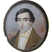 Antique AMERICAN 1839 Miniature Portrait Gentleman in a Brown Coat