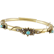 Antique 14 Kt Gold with Turquoise Cabochons and Seed Pearls BANGLE BRACELET