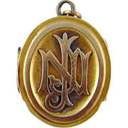 Antique 14 Kt Gold Stylized Locket  PENDANT