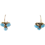 Antique Pair 14 Kt Gold  PERSIAN TURQUOISE Cluster Earrings