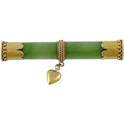 Antique 15 Kt Gold  NEPHRITE JADE with Heart Chic Bar Brooch
