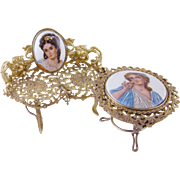 ANTIQUE FRENCH LIMOGES Porcelain Beautiful Women  Miniature Gilt Furniture Settee and Table Set