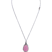 Antique Sterling Silver Pink ENAMEL VINAIGRETTE Locket on chain