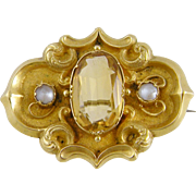 Antique 14 Kt Gold 3 + Carat CITRINE with Seed Pearls  BROOCH